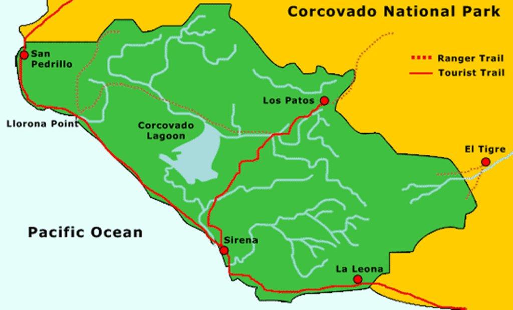 Visit Corcovado National Park: Corcovado National Park trail map Source: https://www.mobilemaplets.com/showplace/7475