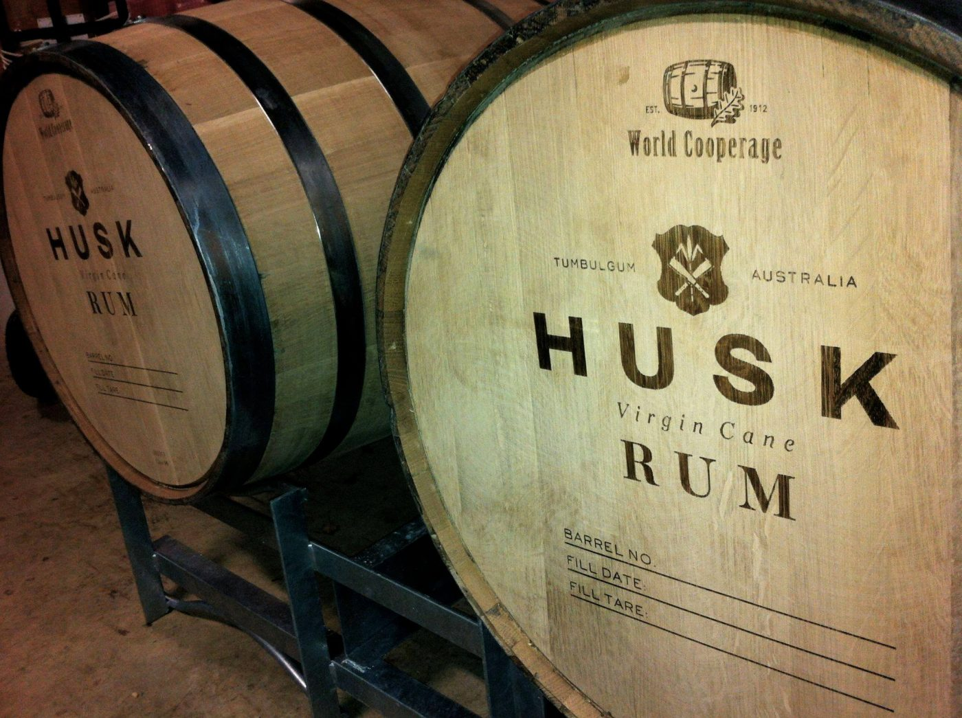 Bars in Byron bay: rum barrels at Husk Distillers
