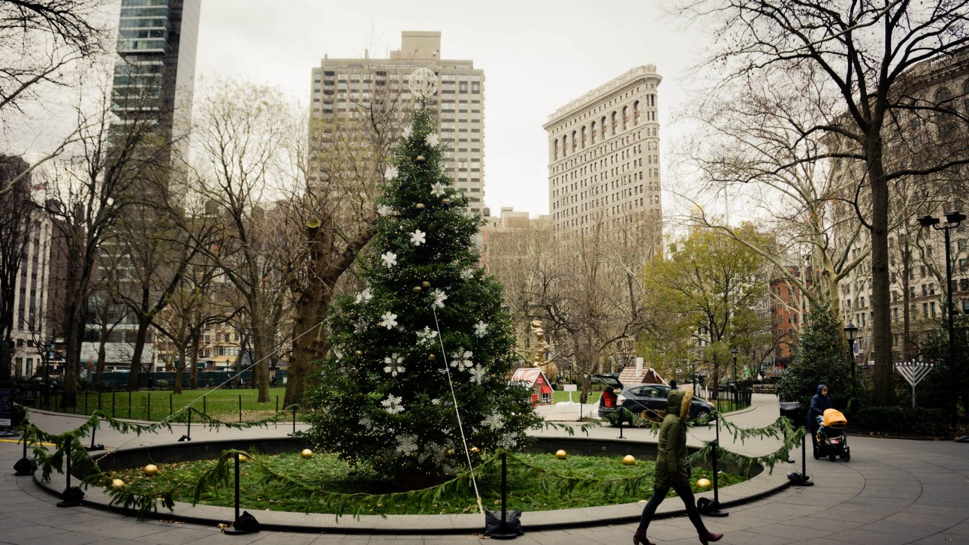 eco-friendly hotels new york city: Christmas tree in Madison Square Park