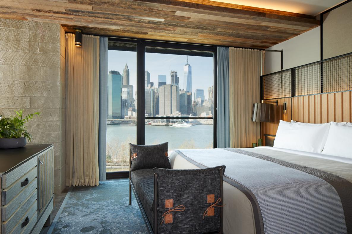 Eco-Friendly Hotels New York: Guest room in at 1 Hotel Brooklyn Bridge