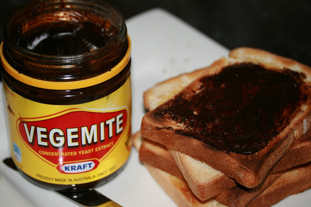 Food to try in Australia: Vegemite on toast. Photo by StephenMitchell via Flickr CC
