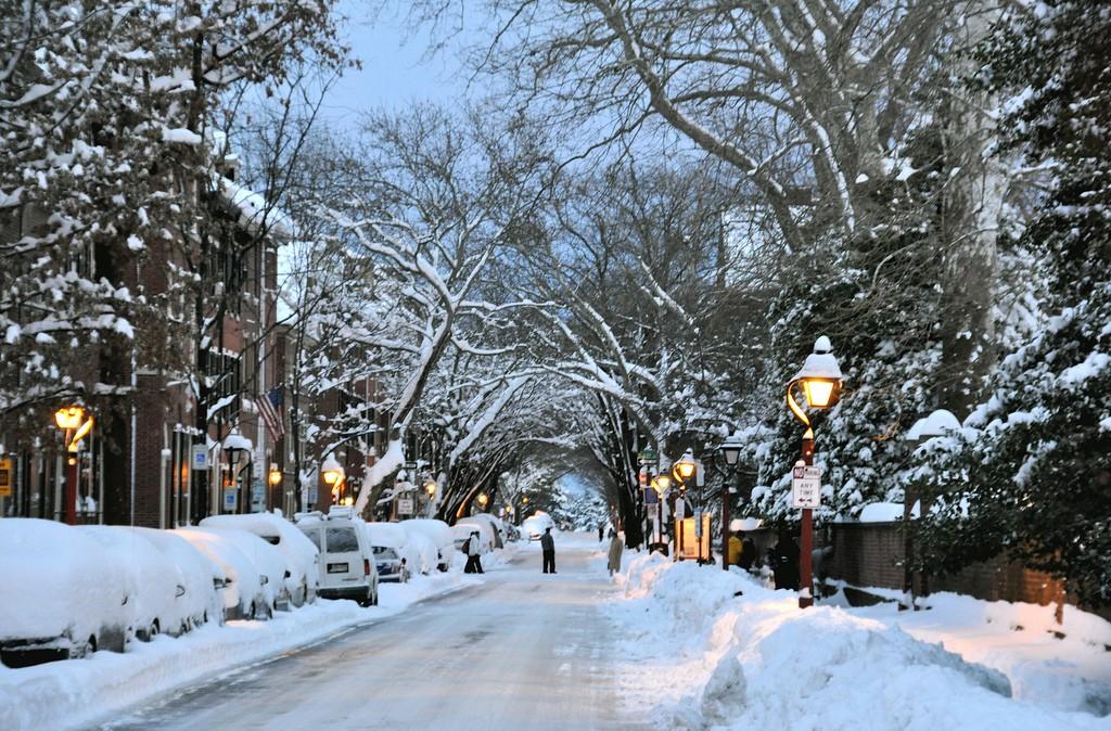 eco-friendly winter getaway: snowy streets