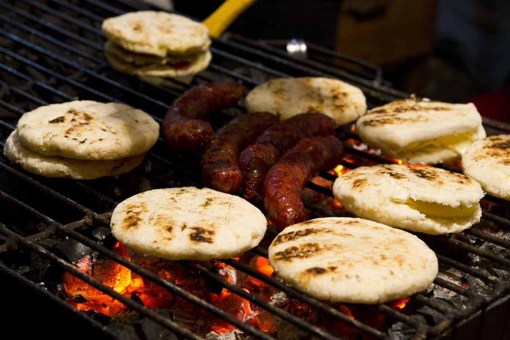 Arepas con Chorizo. Colombian food.