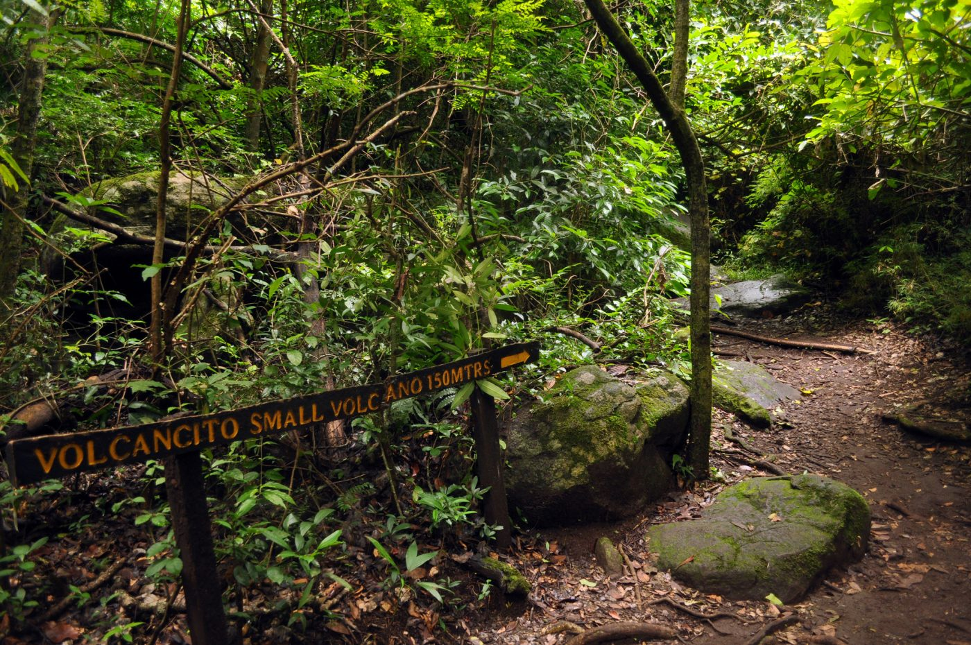 Trail signage in Rincon de la Vieja National Park, Costa Rica