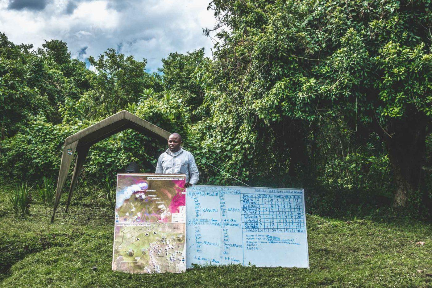 Ranger giving briefing for gorilla trekking congo