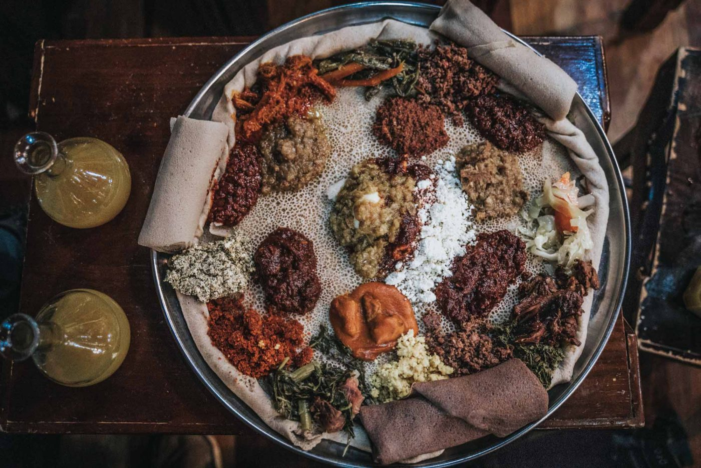 A traditional Ethiopian food paired with injera