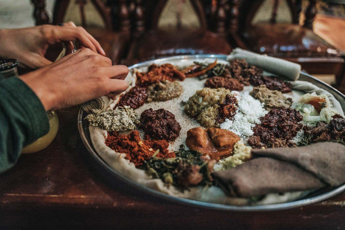 Vegetarian Beyaynetu (Ethiopian combination platter)
