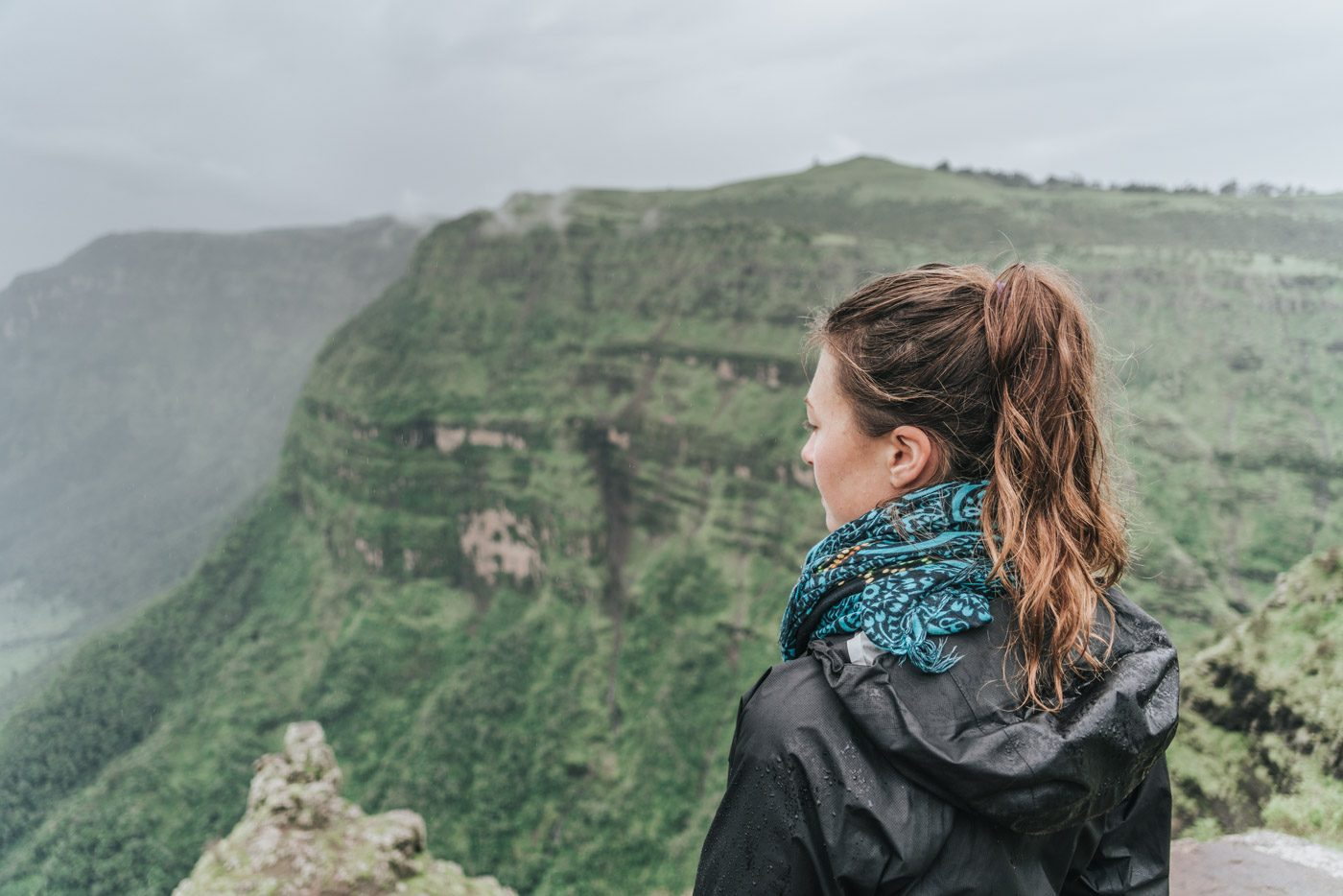 Oksana hiking in Simien Mountains National Park, Norther Ethiopia