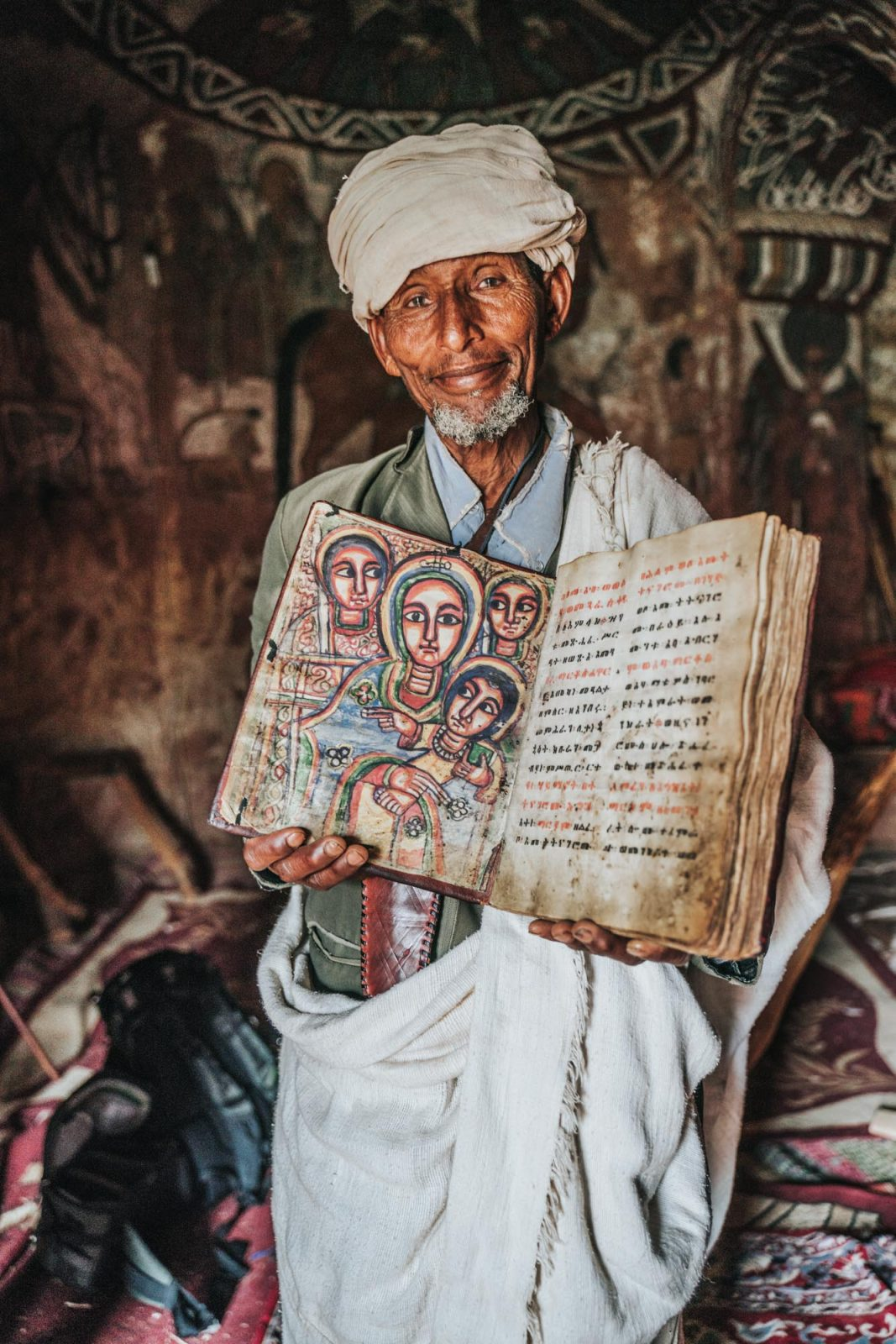 Priest inside Abuna Yemata Guh Church, Gheralta, Tigray Region