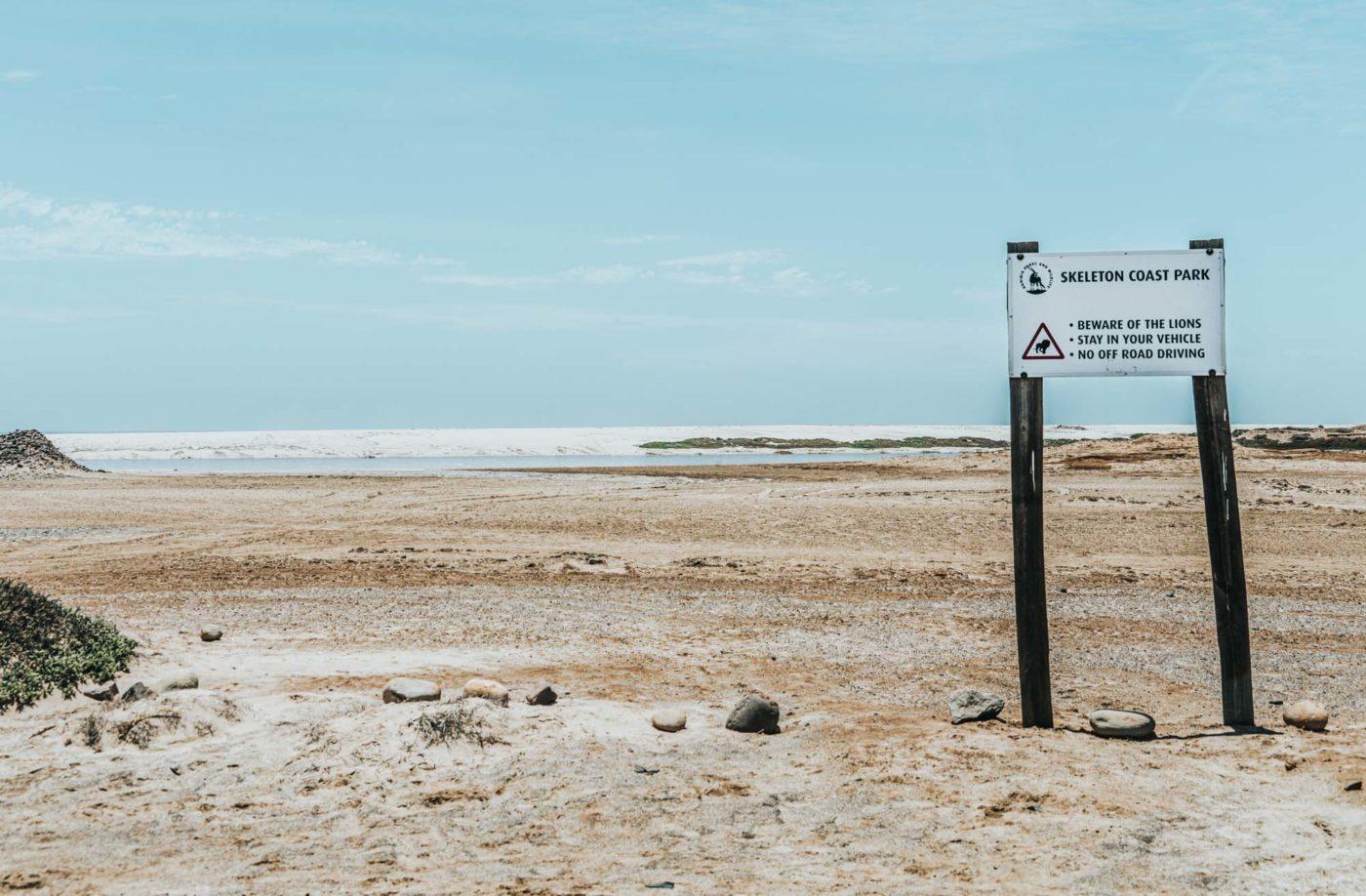 Desert lions sign in Skeleton Coast