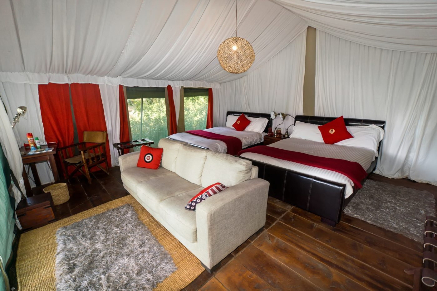 Inside the tent at the Lemala Ngorongoro Tented Camp