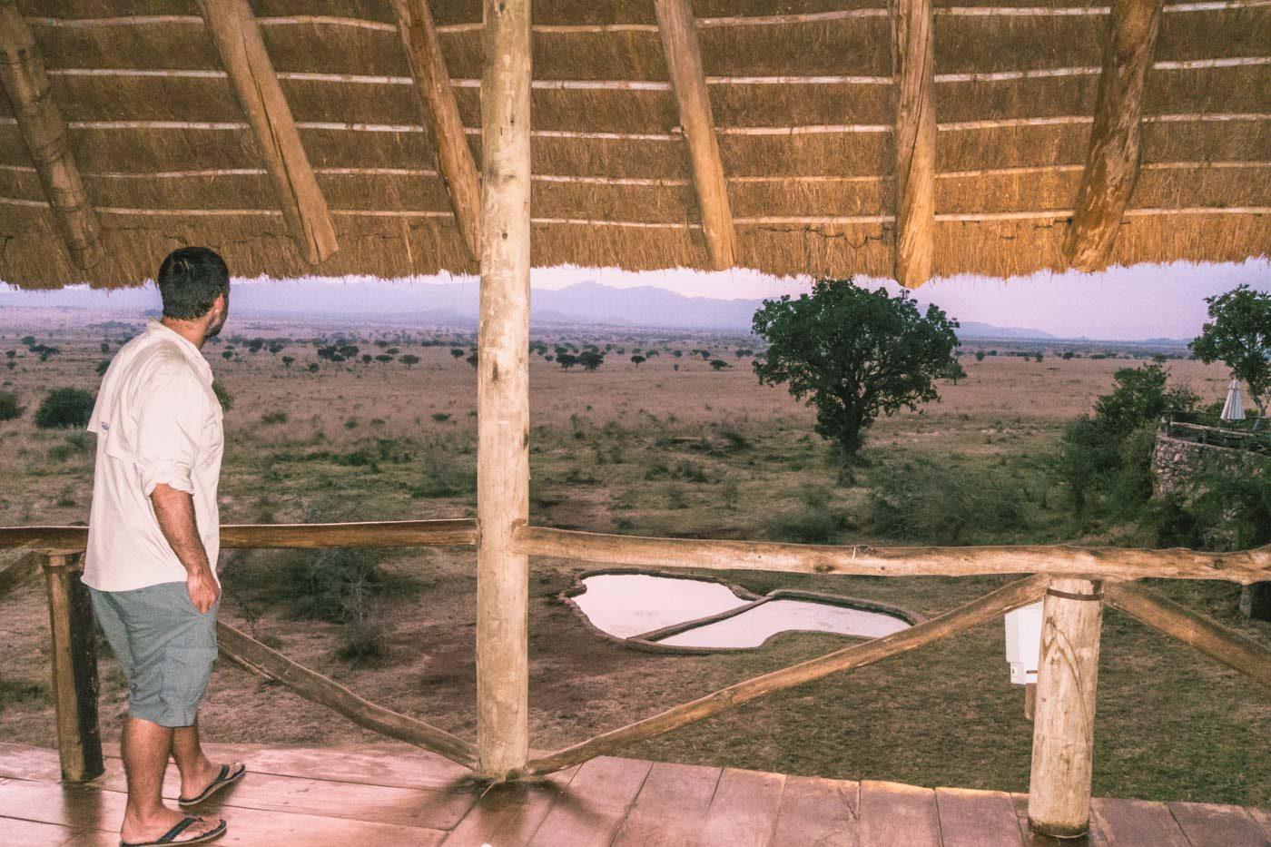 Watering hole outside of the restaurant at Apoka Safari Lodge