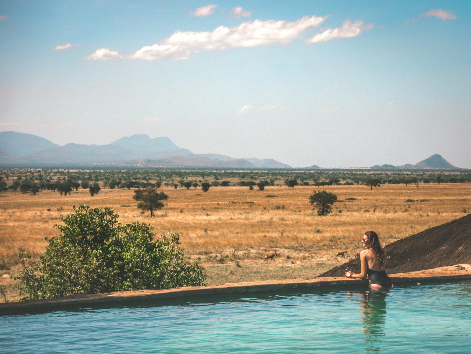 A pool with a view at Apoka Lodge in Kidepo National Park in Northern Uganda