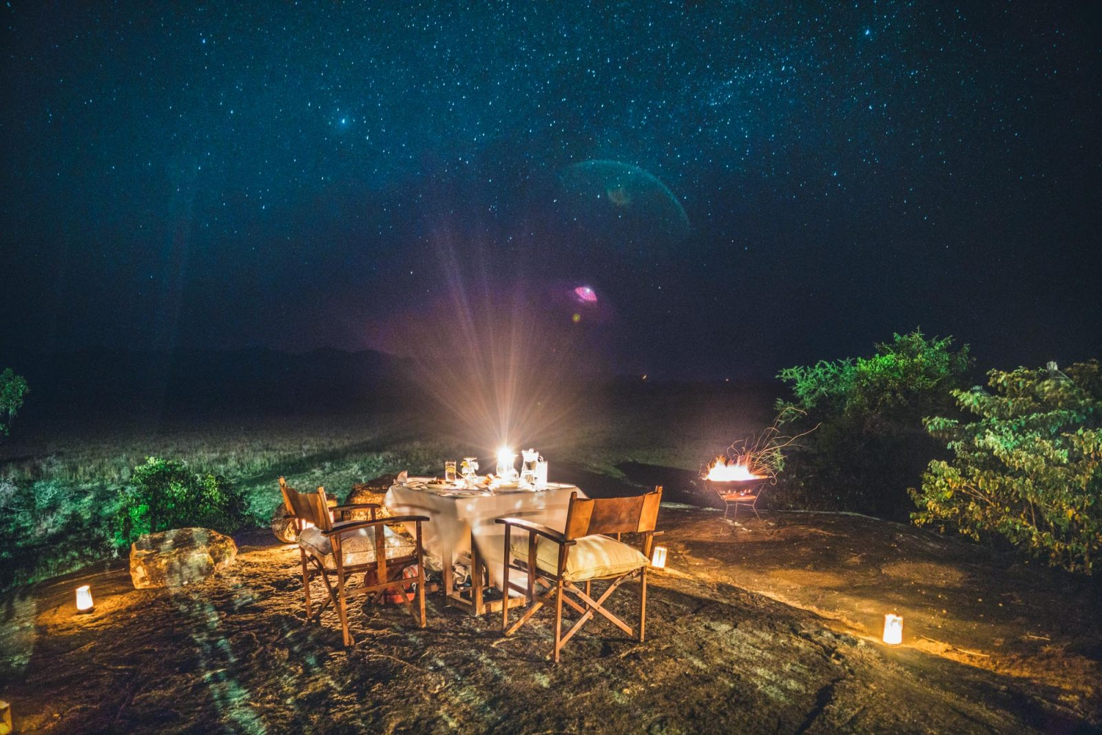 Dinner under the stars at the Apoka Lodge in Kidepo National Park in Northern Uganda