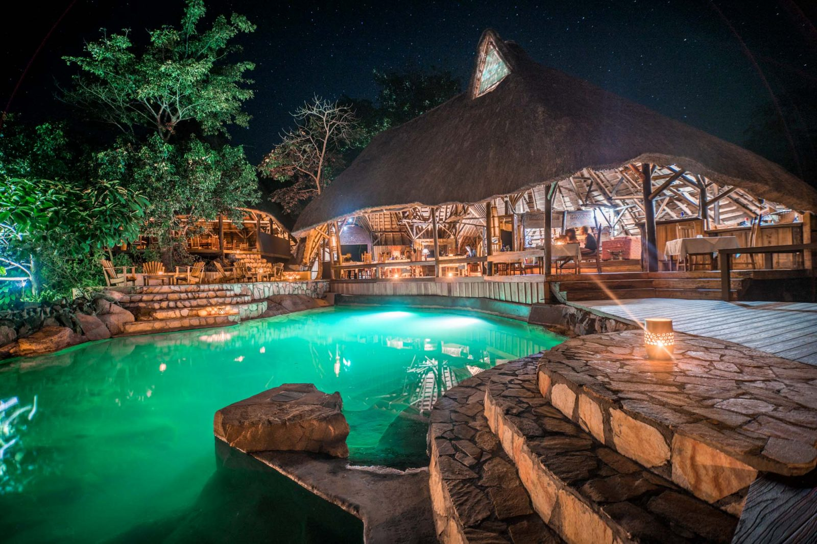 Poolside dinner under the stars at the Wildwaters Lodge