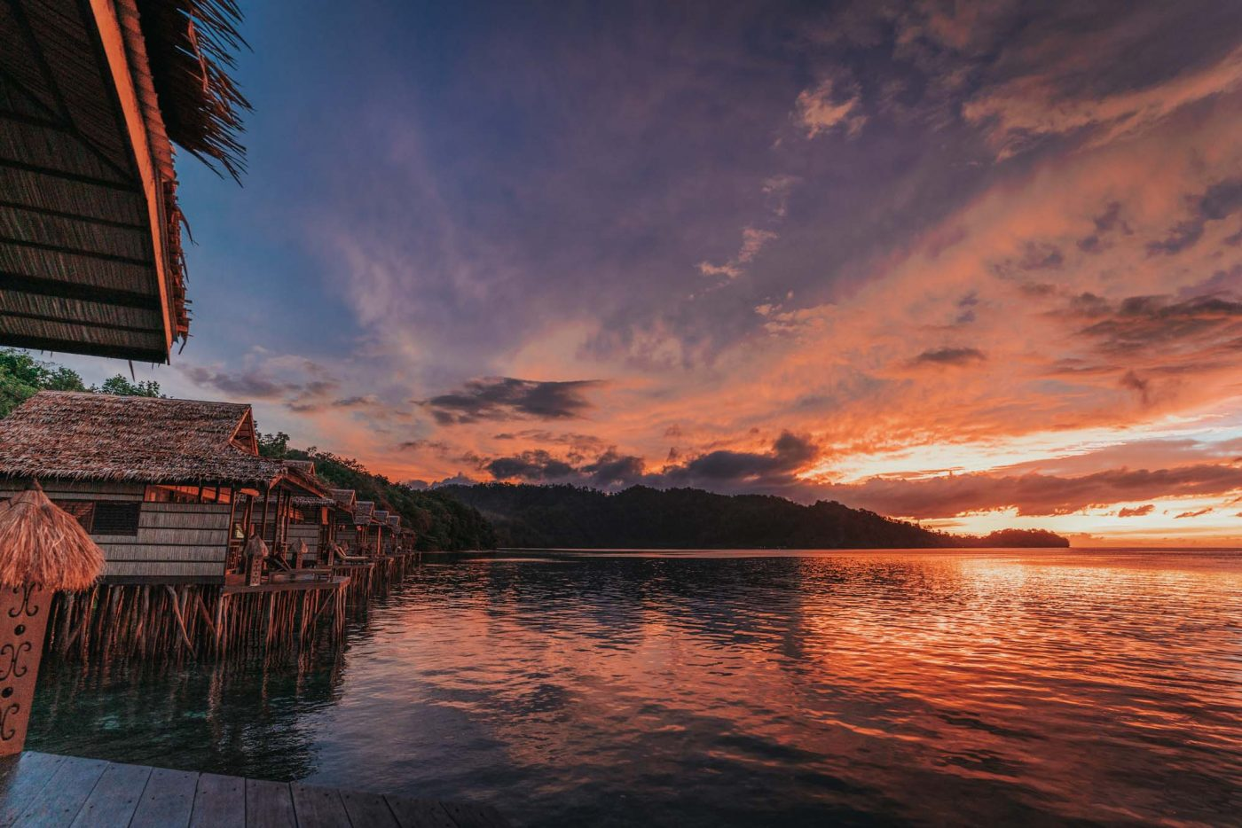 Beautiful sunset at Papua Paradise Eco Resort, raja Ampat