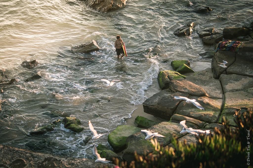australia travel tips: Lone surfer at Bar Beach, Newcastle, NSW, Australia