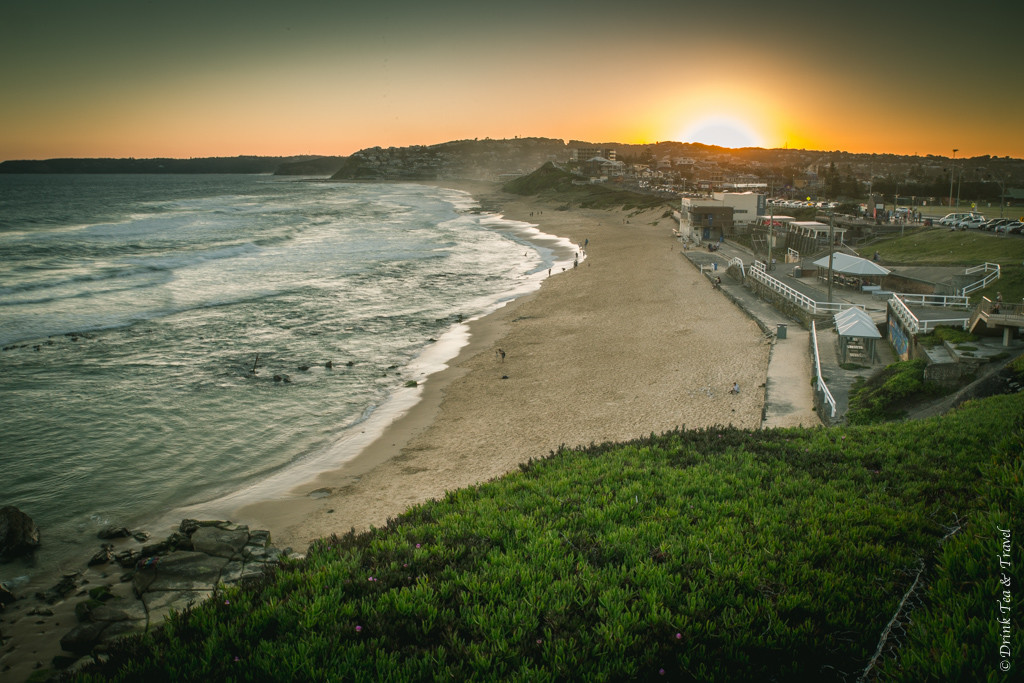 Things to do in Newcastle NSW: That magical moment when the sun hits the horizon. Bar Beach, Newcastle. Australia