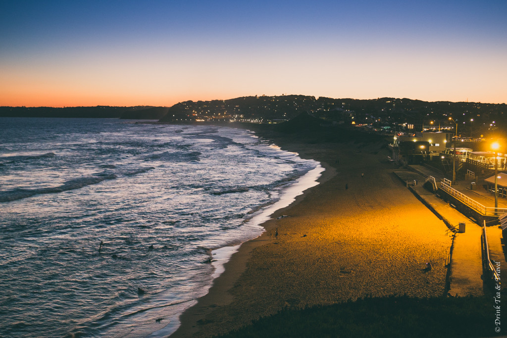 Things to do in Newcastle NSW: Bar Beach shortly after sunset. Newcastle. NSW. Australia
