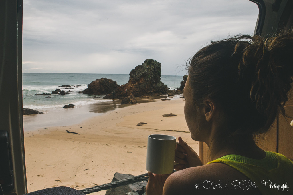 Morning tea with spectacular views of Flynn's Beach, Port Macquarie, NSW