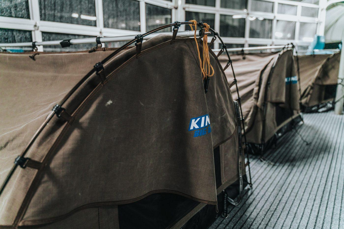 Reefsleep tents set up on the pontoon