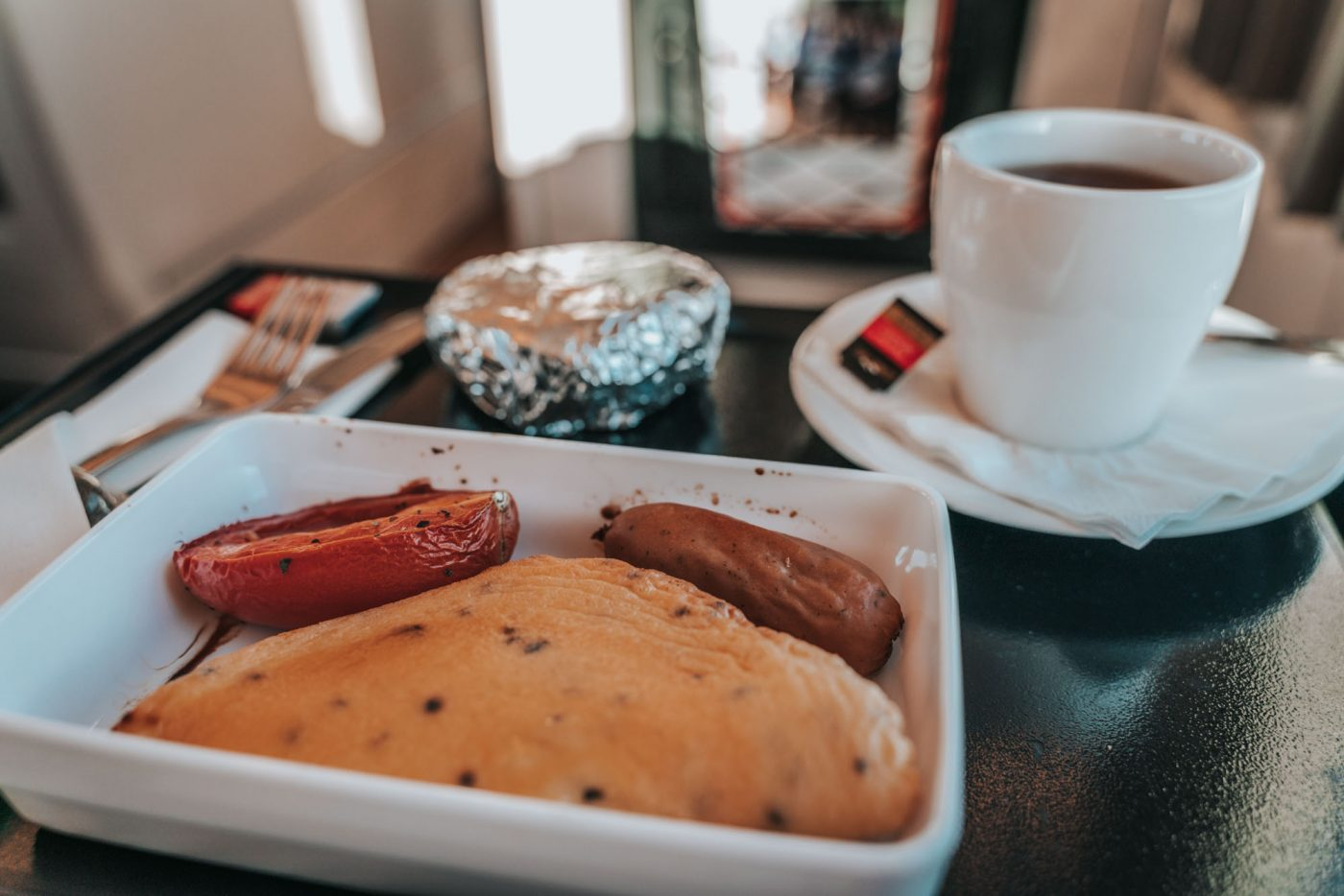 Hot breakfast in RailBed Class on the Spirit of Queensland train