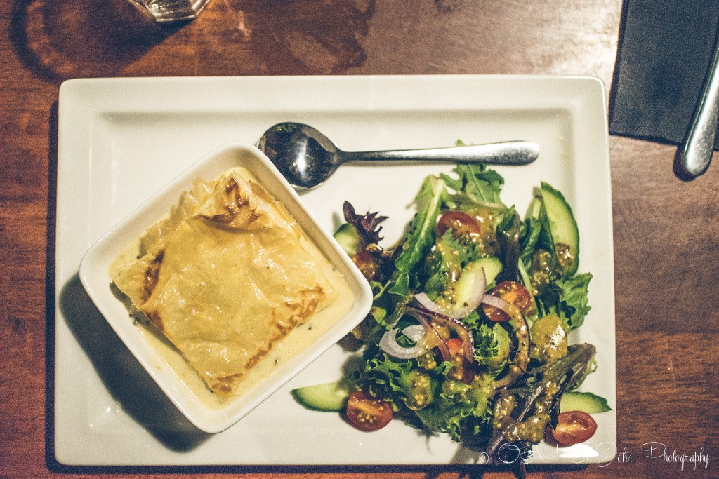 Food to try in Australia: A hearty meal after a long day of hiking in Corinna. Tasmania