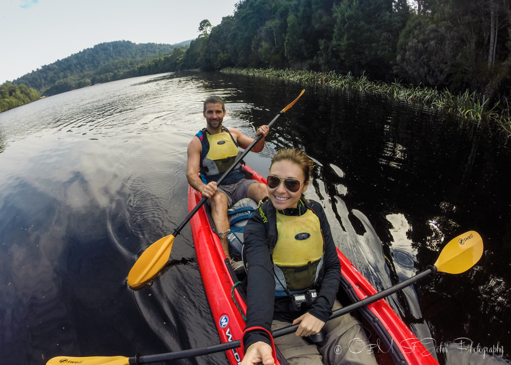 best places to visit in tasmania: Selfie from the kayak! Whyte River. Corinna