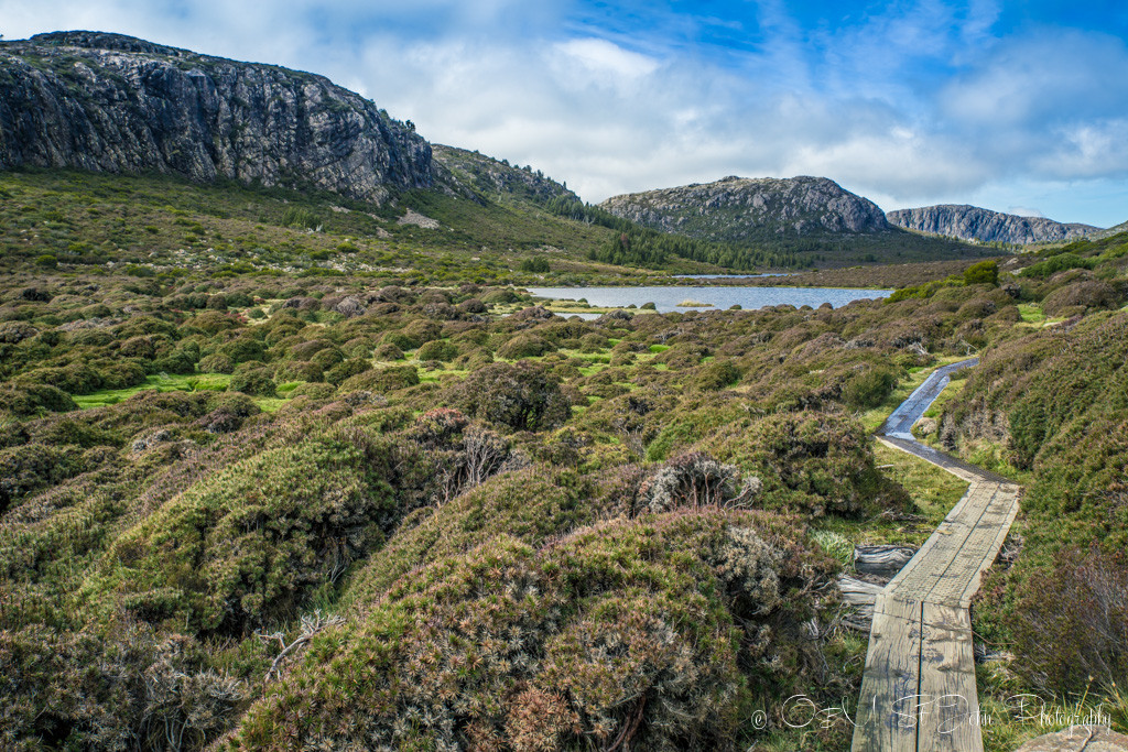 best places to visit in tasmania: On the path inside the heart of the Walls of Jerusalem National Park