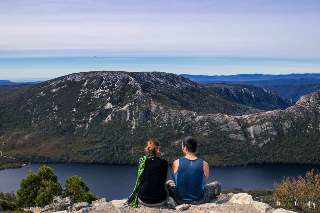 best places to visit in tasmania: Taking a break from the crowds at the top of Marion's Lookout. Cradle Mountain National Park.