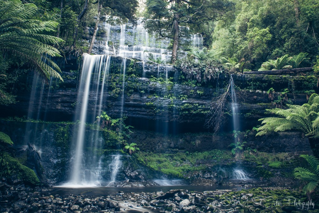 best places to visit in tasmania: Russell Falls, Mt Field National Park, Tasmania
