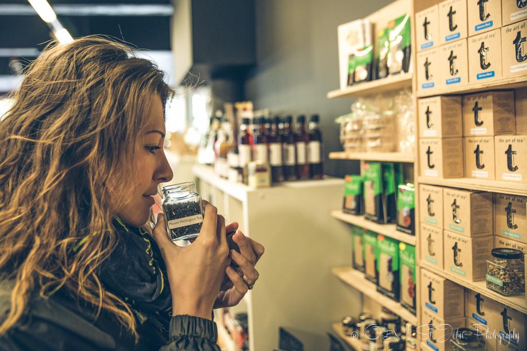 Oksana choosing an eco friendly gift at The Art of Tea in Tasmania Australia
