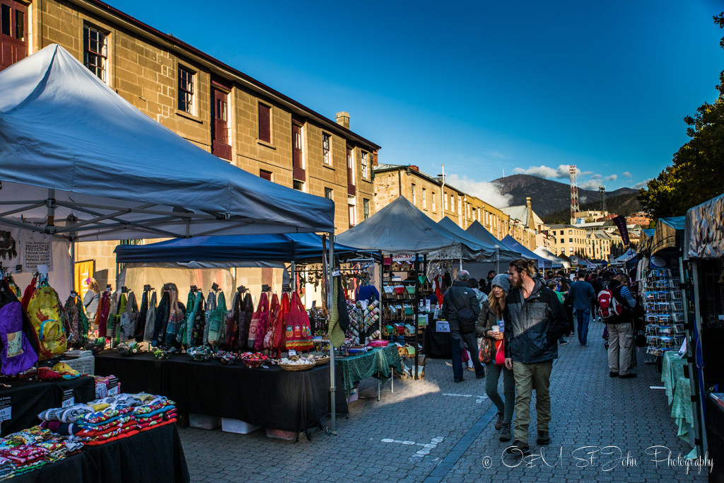 best places to visit in tasmania: Salamanca Market, Hobart.