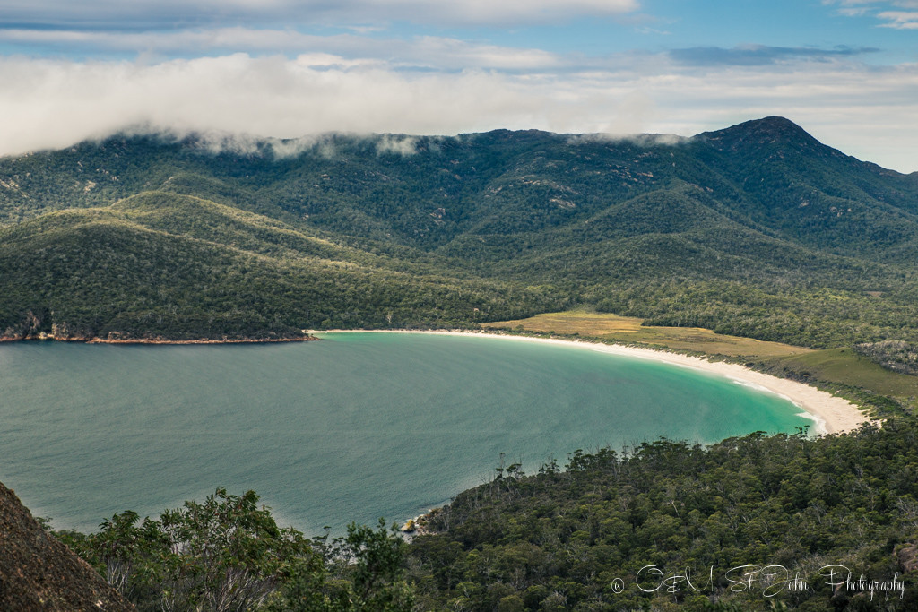 best places to visit in tasmania: Wineglass Bay. View from the Wineglass Bay Lookout. Freycinet National Park