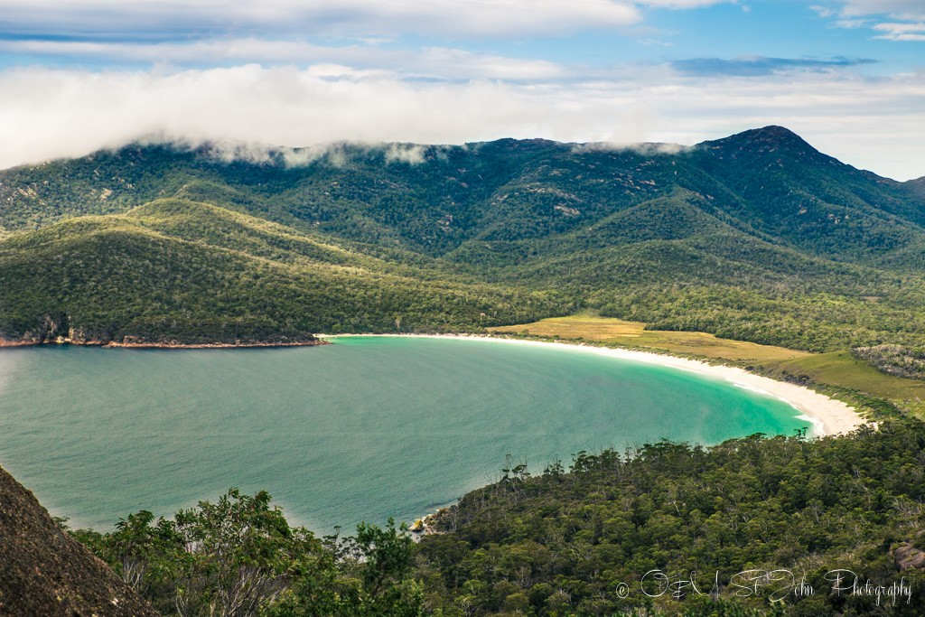 Trip to australia cost: Wineglass Bay. View from the lookout, inside the Freycinet National Park
