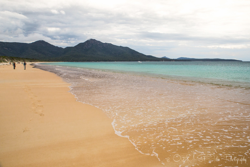 Hazards Beach, a secluded beach accessible only on foot and by boat, located on the Western side of the Freycinet National Park., roughly 3 hours hike from Wineglass Bay.