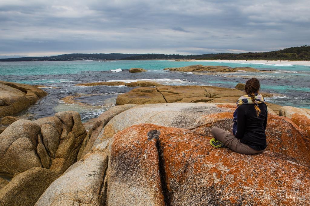 best places to visit in tasmania: On the lichen kissed rocks in Bay of Fires.