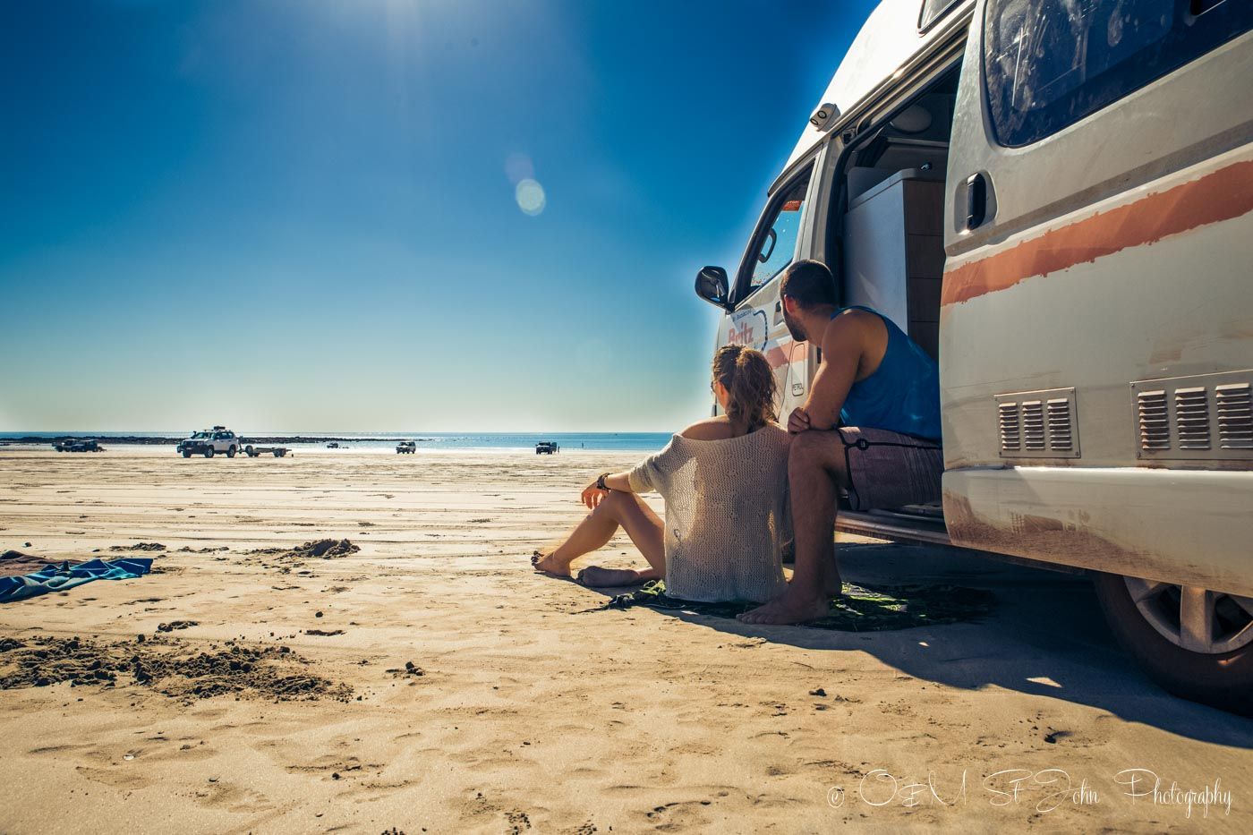 Enjoying time on Cable Beach in Western Australia during one of our campervan adventures in Australia