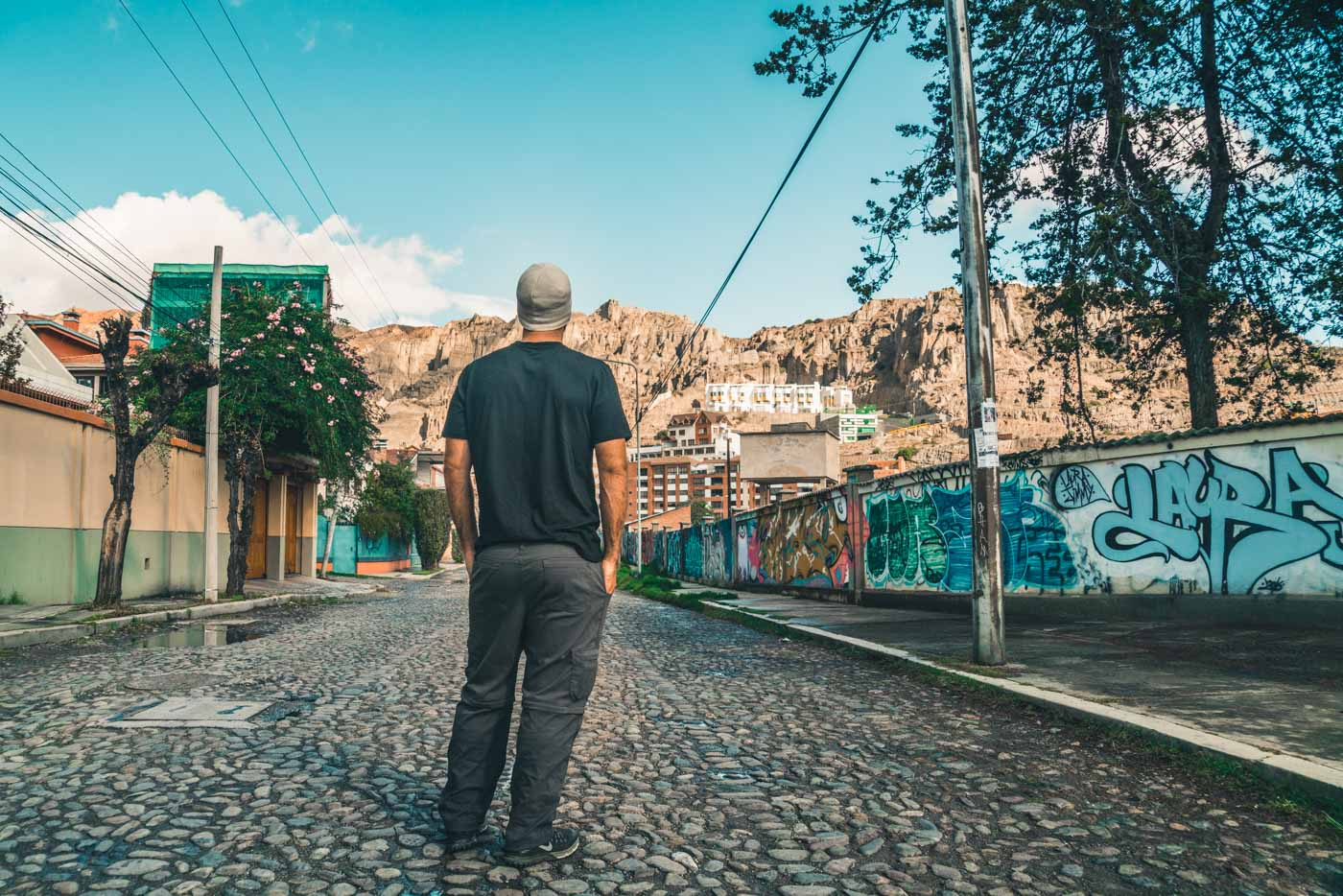 Max wearing his Unbound t-shirt while exploring La Paz, Bolivia