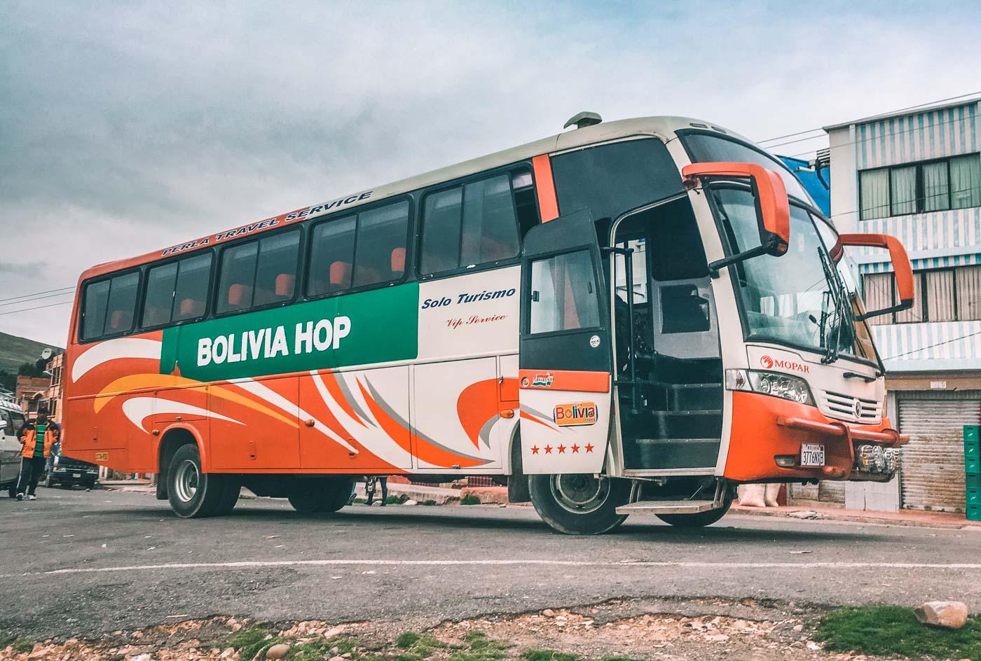 Our Bolivia Hop bus en route to Peru