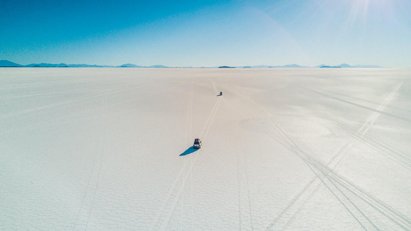 Driving across the Salt Flat