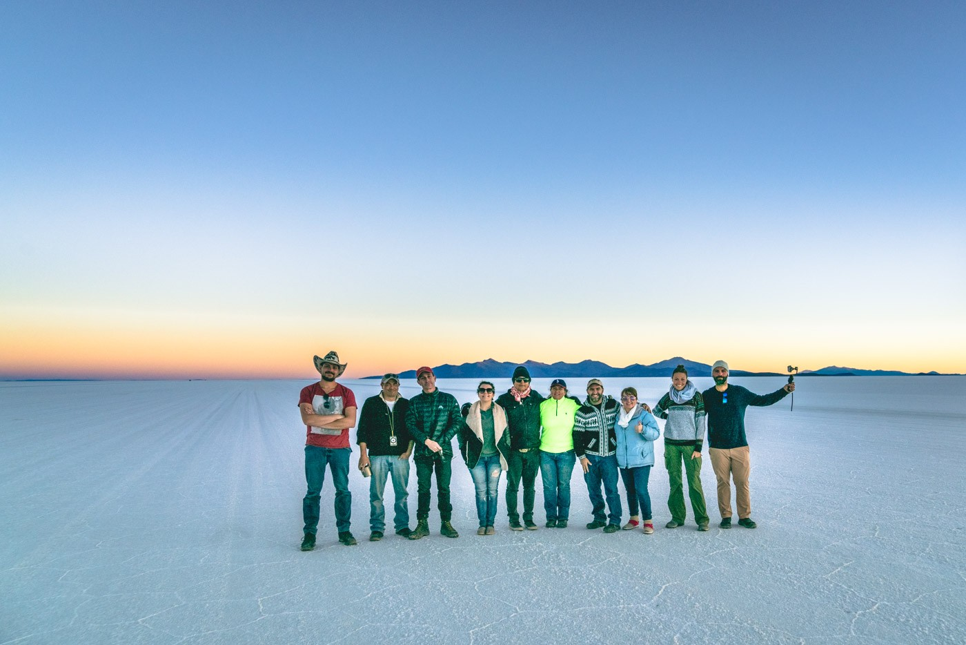 Our group at the Salt Flat at sunset