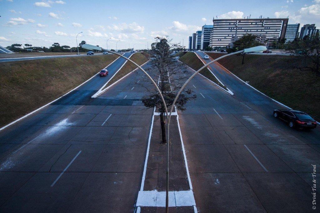 Symmetrical roads in Brasilia, Brazil