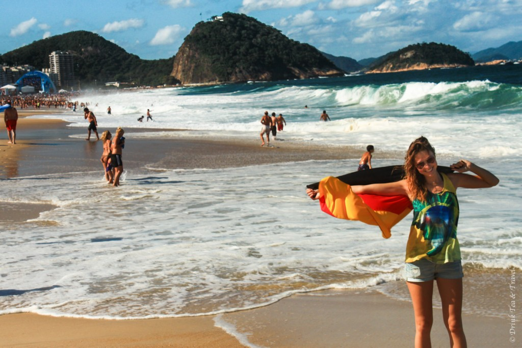 Bucket list trip: FIFA World Cup in Brazil. Supporting Germany on Copacabana Beach in Rio
