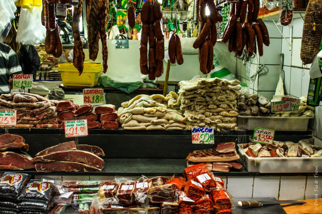 Meat at the Saõ Paulo Central Market: Bacon 22 Real = $10, dried meat 21 Real = $9