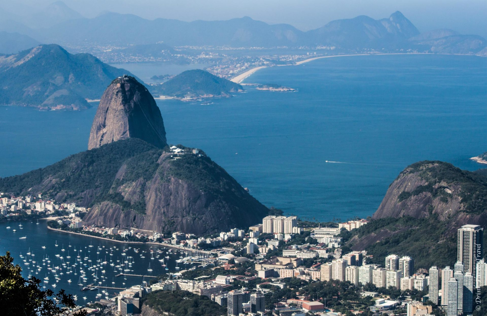 Sugarloaf Mountain, view from the top of Christ the Redeemer. Brazil