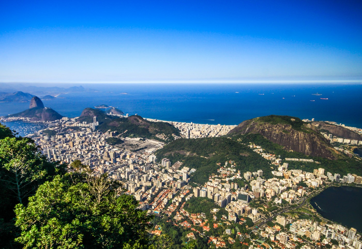 Hike to Christ the redeemer: View from the top of Corcovado Mountain, Rio de Janeiro, Brazil
