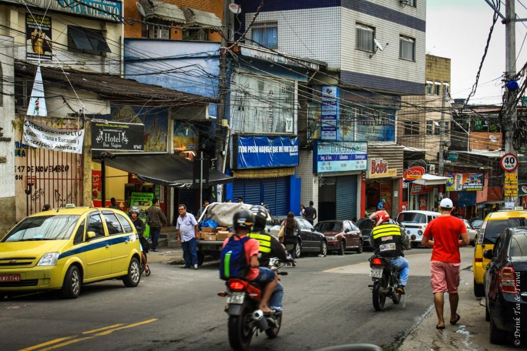 Shops line the main street in Rochina, largest favela in Rio de Janeiro