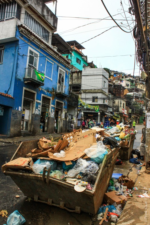 Rubbish on the streets of Rocinha, largest favela in Rio de Janeiro