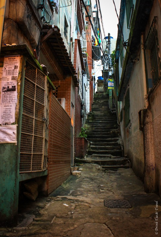 Small alleyway in Rocinha, largest favela in Rio de Janeiro
